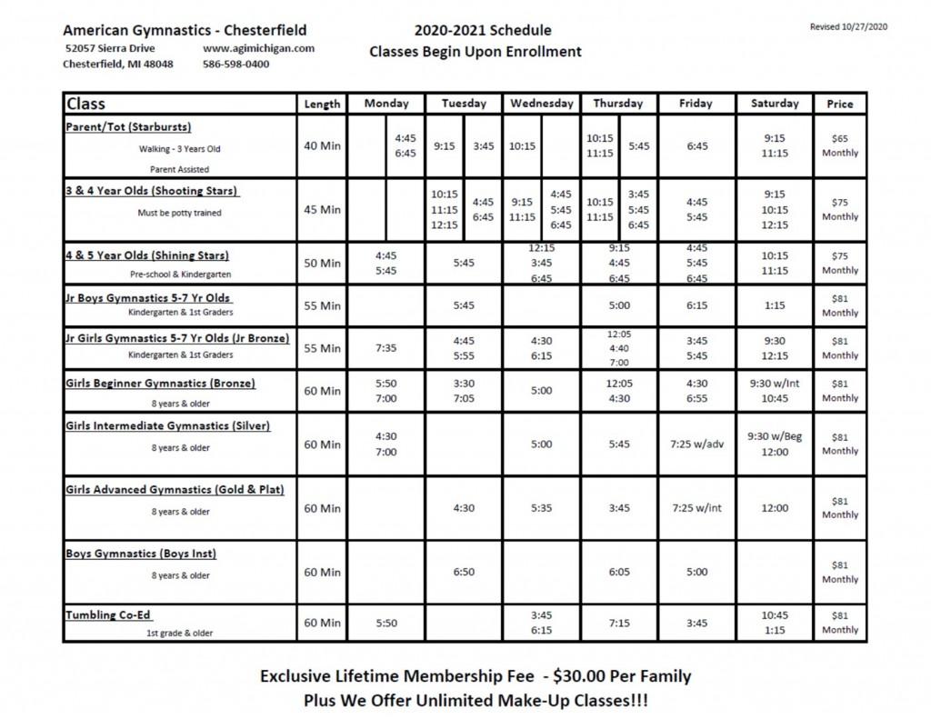 NEW CLASS SCHEDULE 2020-2021